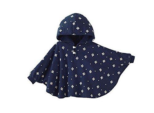 TININNA Baby Kinder Kleinkind Winter Kapuze Cape Mantel Umhang Poncho Mädchen Jungen tiefes blau 1-2 Jahre EINWEG Verpackung