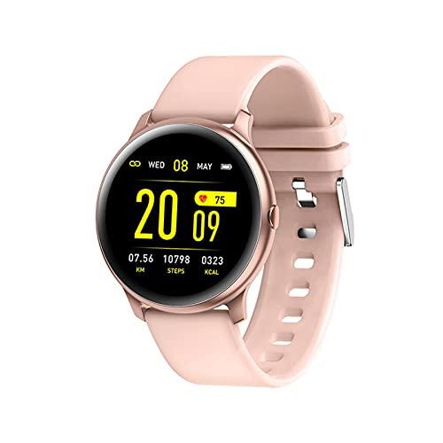 QHG Fitness Tracker Bluetooth Tarifa cardíaca Presión Arterial Blood Oxygen Sleep Monitor Mensaje a Prueba de Agua Rema Inteligente para Android & iOS Teléfono (Color : Pink)