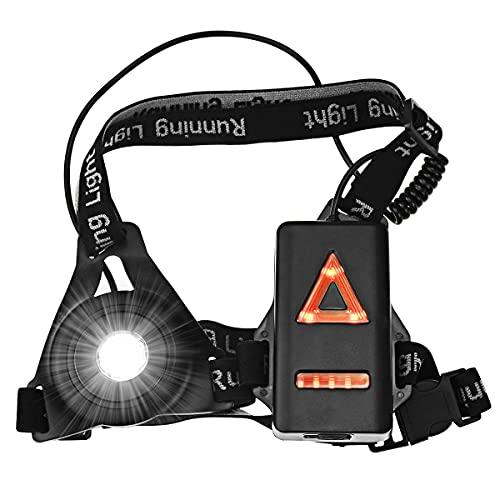 Luz para Correr Running Lámpara de Pecho con Tiras Reflectantes, Luz para Correr Recargable USB Impermeable IPX4 con 3 Modos de Iluminación, para Caminar, Acampadas, Correr, Pesca, Ciclismo