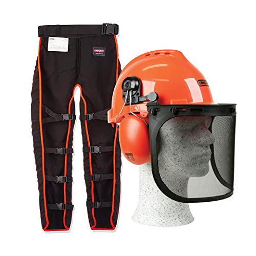 An image of the OREGON Universal Type A Chainsaw Safety Leggings & Yukon Chainsaw Safety Helmet with Protective Ear Muff and Mesh Visor, Impact Resistant Comfortable Hard Hat Safety Protection Equipment