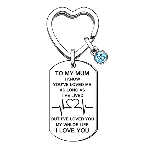 To My Mum Key Ring from Daughter Son Mummy Mama Keychain Keyring Mothers Day Birthday Christmas Gifts