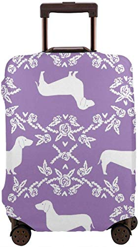 Dachshund Floral Dog Travel Suitcase Protector Luggage Protective Washable Zipper Baggage CoverXL
