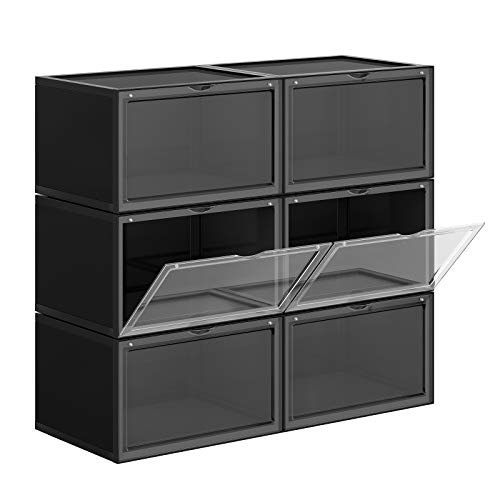 SONGMICS Cajas de Zapatos, Paquete de 6, Organizadores de Zapatos Apilables con Puerta Transparente, Zapatería de Plástico, Talla 46, 36 x 28 x 22 cm, Negro LSP06CB