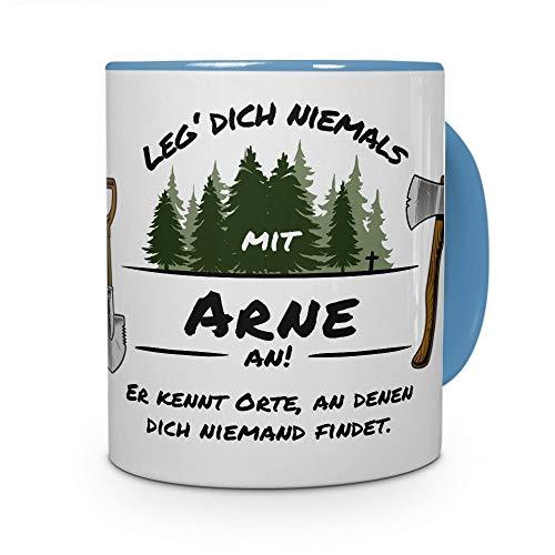 printplanet Tasse - Leg Dich Nicht mit Arne an - Namenstasse, Kaffeebecher, Mug, Becher, Kaffeetasse - Farbe Hellblau