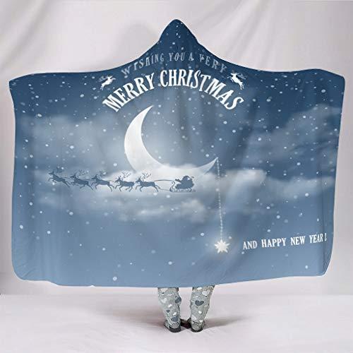 O2ECH-8 Universal Fledermausdecke Frohe Weihnachten Muster Gedruckt Leichtgewicht Warm Gemütlich Kapuze Robe - Moon&Star Passt Mittagsruhe Verwenden White 150x200cm