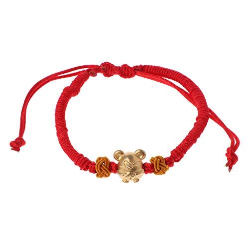 Pulsera de cuerda roja de ratón para mujer y hombre con cuerda ajustable trenzada pulsera mamá hija pareja regalo (rojo)