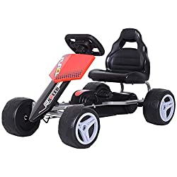 ✅PEDAL GO KART: Gets your little one out the house and having fun. Two pedals to control their own speed etc. NOTE: No brakes. ✅STRONG STEEL FRAME: Provides reliable support to the structure. ✅COMFORTABLE: Ergonomic seat crafted into a wide fitting d...