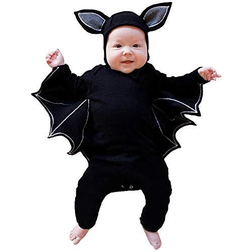 Lifreer Pelele con diseño de murciélago para Halloween con sombrero, cosplay, trajes para recién nacidos, niños y niñas (18-24 meses)