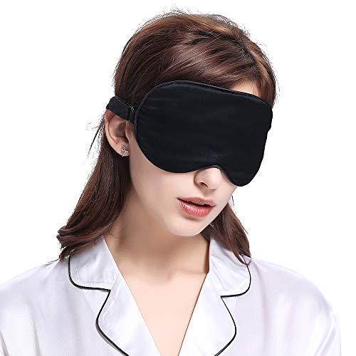 SLHP Schlafmaske, Augenmaske, natürlicher Seidenstoff und natürliche Baumwolle gefüllte Schlafmaske mit verstellbarem Riemen für Männer, Frauen und Kinder (schwarz)