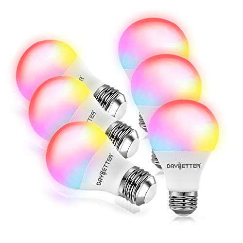 Daybetter Smart Light Bulb, RGBW Wi-Fi Color Changing Led Bulbs Compatible with Alexa and Google Home Assistant, A19 E26 9W 800LM Multicolor Led Light Bulb, No Hub Required, 2.4GHz Only, 6 Pack