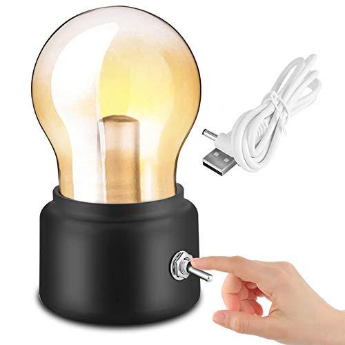 Birne Lampe LED nachttisch Nachtlicht, Peralng kabellose USB wiederaufladbare batteriebetrieben Retro glühbirne schwarz