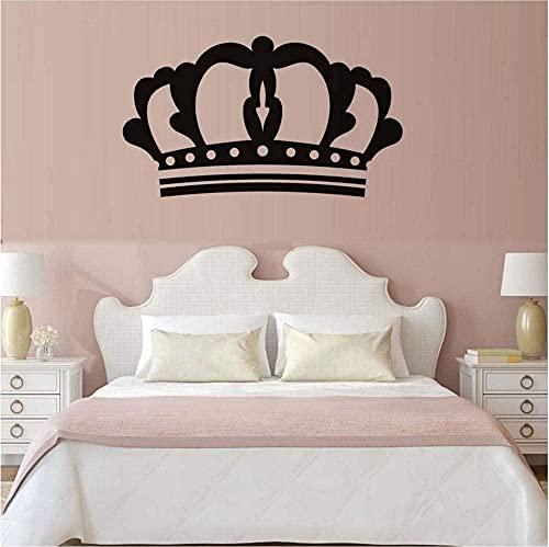 Arte de pared princesa corona pegatina de pared ecológico PVC impermeable papel tapiz extraíble calcomanías de pared dormitorio decoración del hogar 44x25 cm