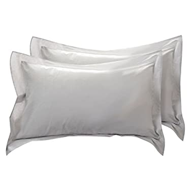 uxcell Pillow Shams Oxford Pillow Cases Egyptian Cotton 300 Thread Count Solid/Plain Pattern Silver Gray 20 x 36 Inch Set of 2