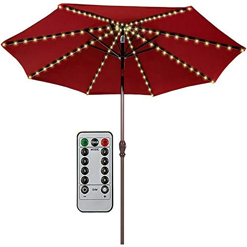 XLanY Umbrella String Lights Battery Operated, Solar Umbrella Pole Lights with Remote for Outdoor, LED Waterproof Garden Party Patio Camping Tents Decoration,Warm Light