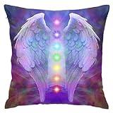 Fundas de Almohada de 45x45cm Fundas de Almohada Reiki Angel Wings y Seven Chakras On Colorful Soul