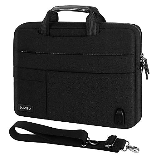 DomISO 17 Zoll große Laptop-Tasche mit externem USB-Ladeanschluss, Schultertasche für 17-17,3 Zoll Notebook/Dell/Lenovo/Acer/HP/ASUS, Schwarz