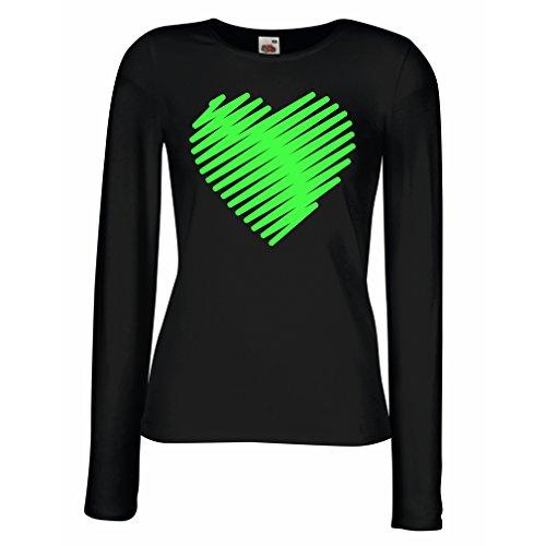 lepni.me Camisetas de Manga Larga para Mujer Corazón con Estilo, te Amo Regalos Trajes de día de San Valentín (Medium Negro Verde)