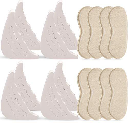 4 Pairs Shoe Filler and 4 Pairs Heel Grip Liner Insert, Adjustable Shoe Filler Soft Sponge Big Toe Plug Foot Brace Pads for Men Women Pumps Flats Sneakers (Beige)