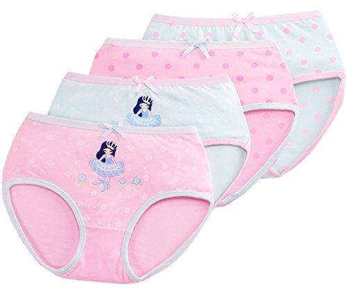 FEOYA Braguitas Niña Pack de 4 Ropa Interior Calzoncillo Underwear 3-10 Años Rosa Azul