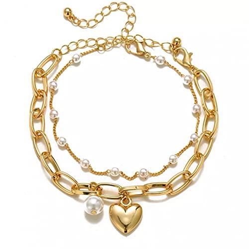 AAKK Pulsera De Perlas Vintage para Mujer, Brazaletes De Perlas De Corazón Femenino, Dijes, Joyería De Perlas De Pareja De Moda