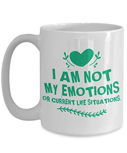 aza de meditación - No Soy mis emociones - Gran Taza de café Mantra - Cumpleaños, Aniversario, calcetín, a Dieta, Esposo, Esposa, Amigo, Novio, Novia, Hombres, Mujeres