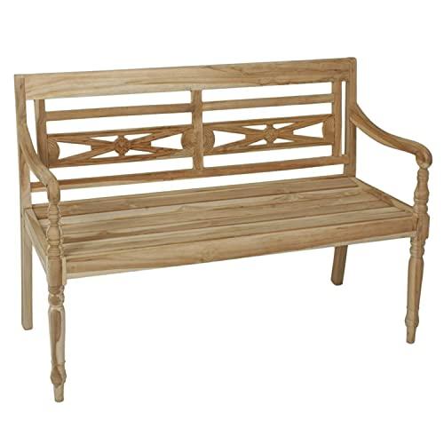 Panchina da giardino a 2 posti, in legno di teak non trattato, 120 x 86 x 55 cm