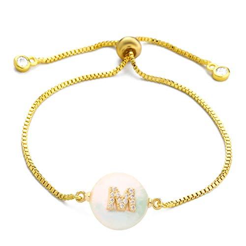 LIUL Oro Moda Charm Alfabeto Pulsera de Perlas Naturales Micro Pave Pulsera con Letra Inicial Pulsera con Nombre de Pareja Regalo de Mujer 20 CM, M