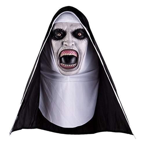 Rowentauk Máscara de Halloween Horror Látex Monja Máscara de Cabeza Completa Máscara de Cosplay para la Fiesta de Halloween