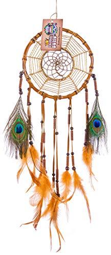 Traumfänger aus Bambus - Handmade Dreamcatcher - Traditionelle Indianer Deko - Durchmesser 18 cm Gross (Braun)