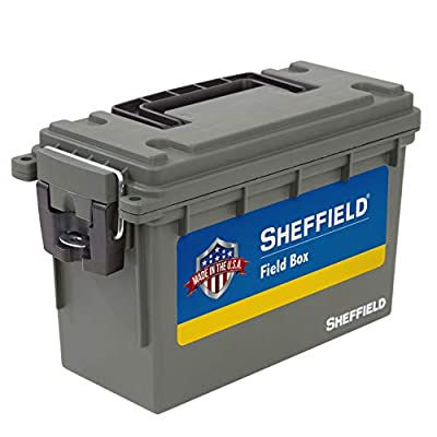 Sheffield 12726 Field Box, Pistol, Rifle, or Shotgun Ammo Storage Box, Tamper-Proof Ammo Can with 3 Locking Options, Stackable and Water Resistant, Made in The U.S.A, Drab Olive Green