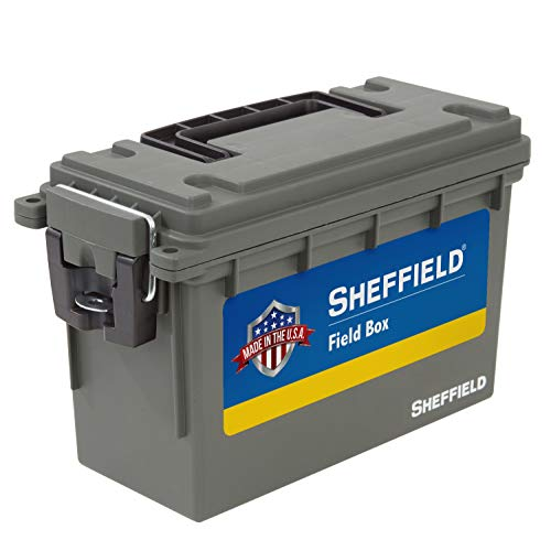 Sheffield 12626 Field Box, Pistol, Rifle, or Shotgun Ammo Storage Box, Tamper-Proof Ammo Can with 3 Locking Options, Stackable and Water Resistant, Made in The U.S.A, Drab Olive Green