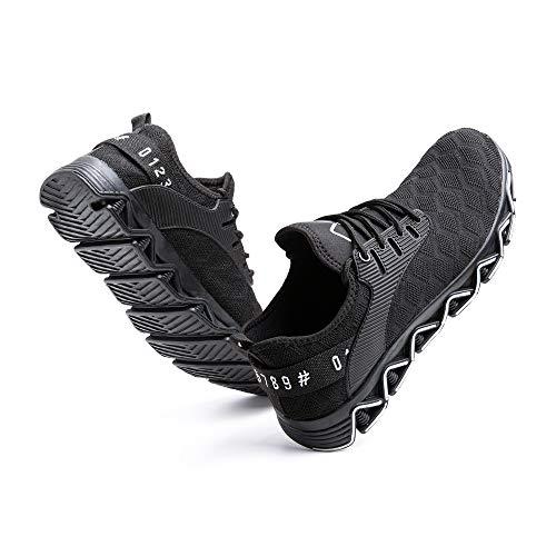 Zapatos de Seguridad Hombre Trabajo Zapatillas de Seguridad Mujer Punta de Acero Ligeros Comodos Botas Industrial Sneakers Construcción Blanco-1 37 EU