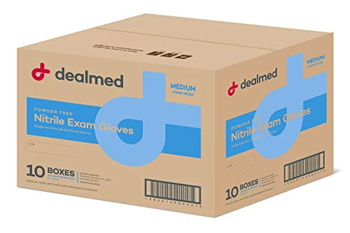 Dealmed Nitrile Medical Exam Gloves, Disposable Latex Free, Medium, 100 ct. (Pack of 10)