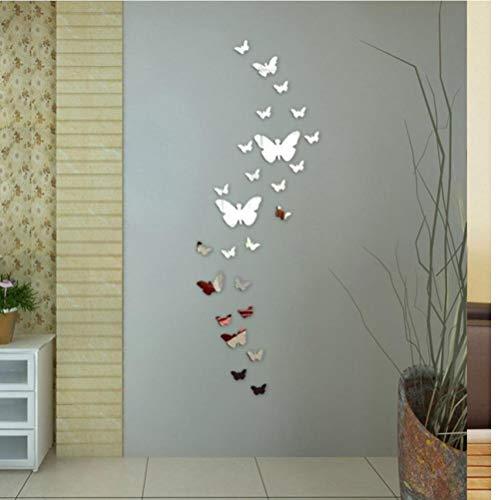 Onsinic 1 Set Silber Mode Spiegel Wandaufkleber Schmetterling Dekor DIY Kunst-Wandhauptdekor-Acryl-Abziehbilder