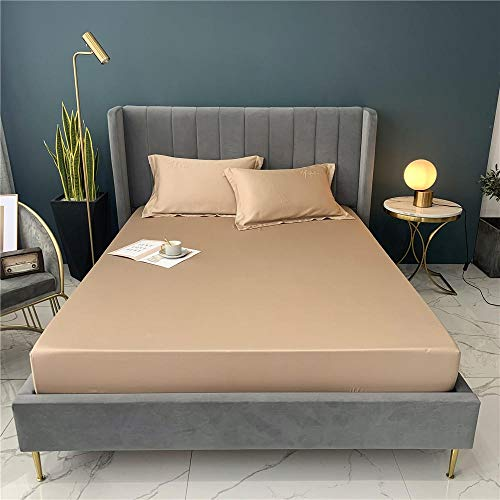 Hjkl Satin Silk Flat Bed Sheet Set Single Queen Size King Size Bedspread Cover Linen Sheets Double Full Double Sexy (Color : Gold, Size : 150x200x30cm)