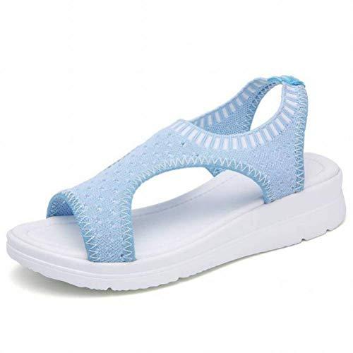 Women Sandals Été D'Été Sport Sandales Femme Ceinture Élastique Respirante Fond Épais Bouche de Poisson Sandales Décontractées, Light Blue, 43