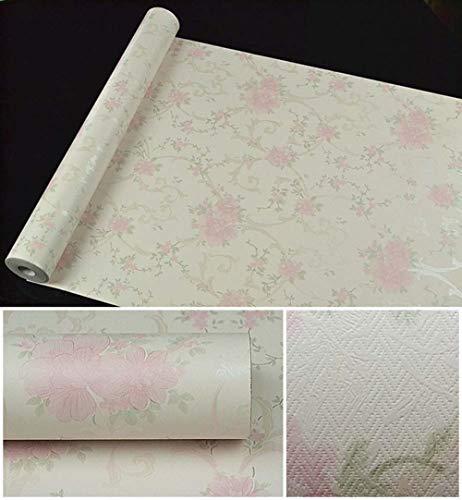 Papel tapiz floral de flores 3D Rollo Papel de contacto Papel tapiz rosa en relieve para niñas Dormitorio Decoración de la sala Revestimiento de paredes-Veintitres_Los 0.45 * 10m