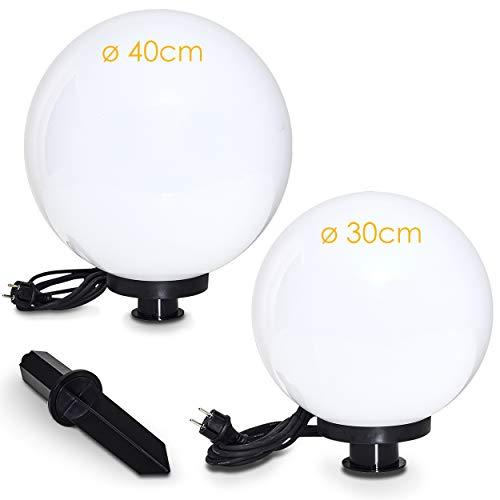 Set de 2 boules lumineuses de 30 et 40 cm de diamètre avec piquet et câble