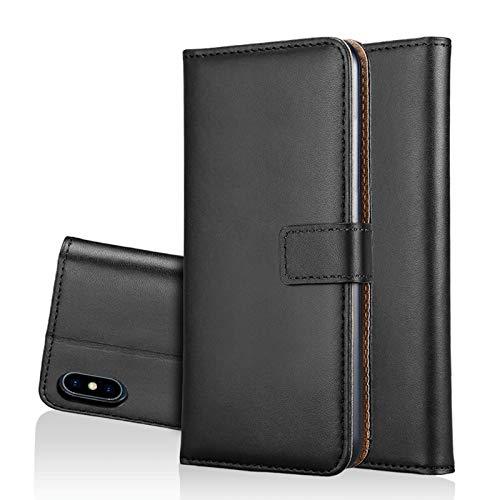 bagmaxx Wallet Case Genuine Echt Leder Handy Tasche Book Klapp Etui Schutz Hülle Bag Schwarz für Apple iPhone XS Max