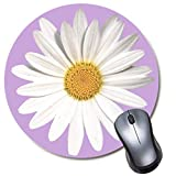 Round Gaming Mouse Pad White Daisy Purple Mousepad for Computer,Funny Gift Non-Slip Mouse Mat