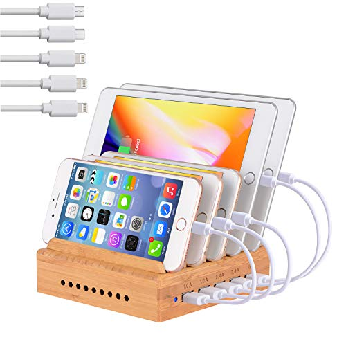 Bamboo Charging Station for Multiple Devices - Family Charge Docking Station&Organizer - 5 USB Port...