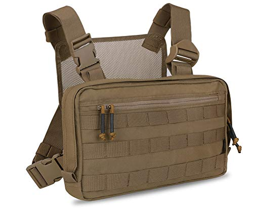 KRYDEX Molle Pouch Tactical Combat Chest Recon Kit Bag Multi-Purpose Concealed EDC Carry Pouch (Coyote Brown)