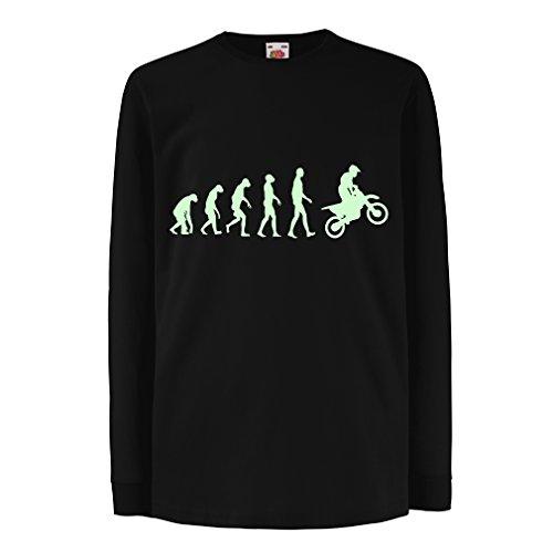 lepni.me Kinder T-Shirt Motocross-Evolution Dirtbike-Motorradausrüstung Offroad-Rennbekleidung (5-6 Years Schwarz Fluoreszierend)