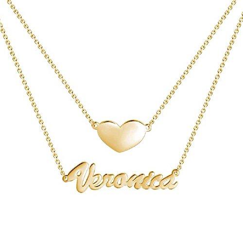 """SOUFEEL Collar Plata Colgante con Nombre """"Única Amor"""" Personalizados Regalo para Familia Aniversario Novia Cadena Ajustable"""