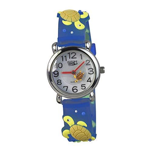Tee-Wee Kinder Armbanduhr Schildkröte türkis Kautschuk Quarz Uhr D2UW925T EIN schönes Geschenk zu Weihnachten, Geburtstag, Valentinstag für Kinder