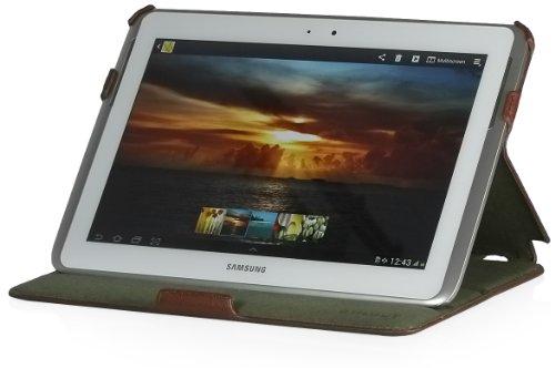 StilGut UltraSlim Case, Tasche mit Stand- und Präsentationsfunktion für Samsung Galaxy Note 10.1 (N8000), Cognac