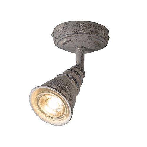 QAZQA Landhaus/Vintage/Rustikal/Retro Decken- und WandWand Spot/Spotlight/Deckenspot/Deckenstrahler/Strahler/Lampe/Leuchte grau drehbar und kippbar - Coney 1 / Innenbeleuchtung/Wohn