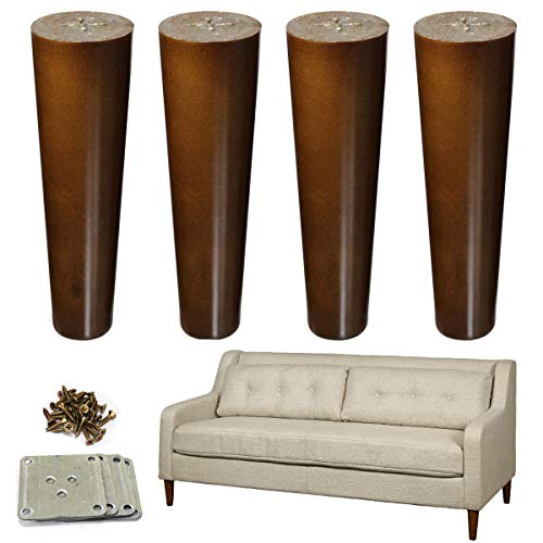 Wood Furniture Legs 8 inch Sofa Legs Set of 4 Walnut Finished Replacement Feet Ideal for Sofa Bed Dresser Cabinet Pack of 4pcs with Mounting Plates