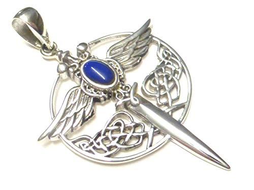 Colgante de plata de ley 925, diseño de espada del arcángel Miguel, con piedra de lapislázu, regalo unisex