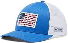 Columbia Men's PFG Fish Flag Snapback Ball Cap, Breathable, Adjustable , Vivid Blue/White